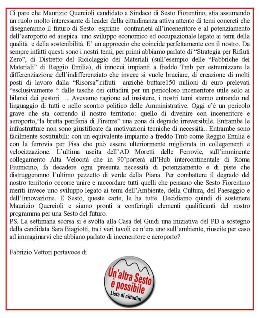 Ci pare che Maurizio Quercioli candidato a Sindaco di Sesto Fiorentino