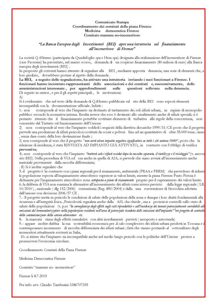 comunicato stampa bei a firenze per indagini su finanziamento inceneritore